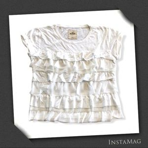 HOLLISTER White Textured Ruffle Layer Soft Top